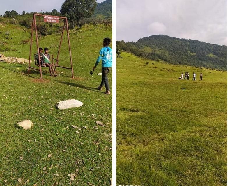 समाजसेवी साउँद द्वारा पर्यटकिय स्थलकाे रूपमा विकसित भैरहेकाे बगलेकमा पिङ निर्माण